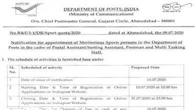 Photo of Gujarat Postal Circle Recruitment 2020 for 144+ Postal Assistant, Postman & MTS Vacancies